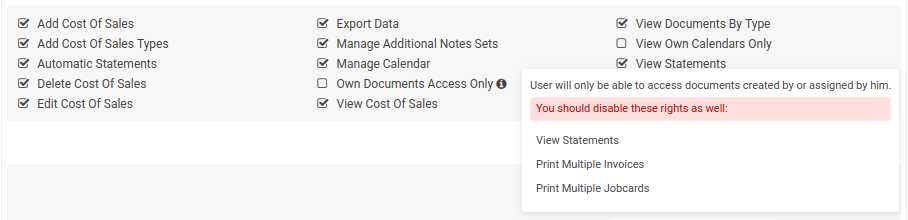 Own Documents Only Access